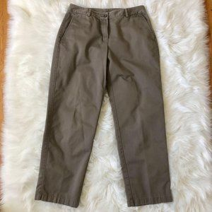 LL Bean Favorite Fit Olive Chino Ankle Pants 6P